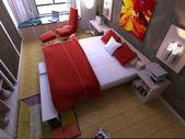 ホーム インテリア ベッド ルームに焦点を当てたのレンダリング — ストック写真