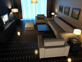 Interior fashionable living-room rendering — Stock Photo