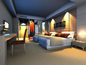 Rendering of home interior focused on bed room — Stok fotoğraf