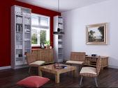 Interior fashionable living-room rendering — Stockfoto