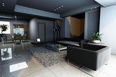 Rendering living room — Stock Photo