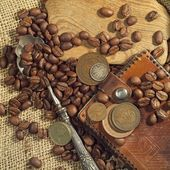 COLLAGE MADE WITH COFFEE AND OTHER — Stock Photo