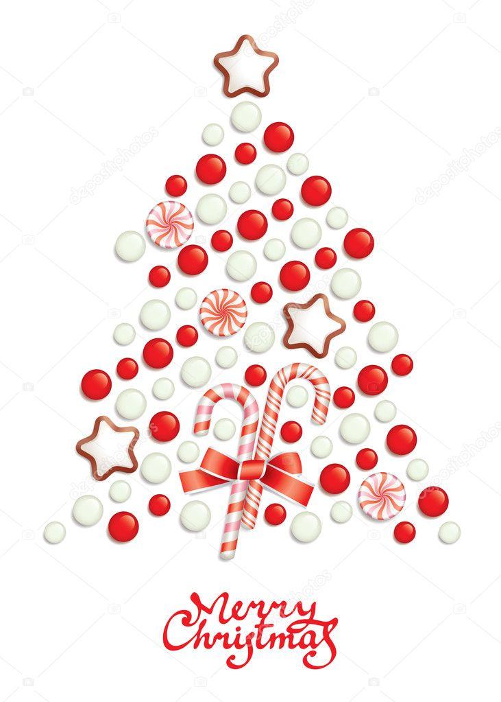 糖果圣诞树与问候题字 — 矢量图片作者 olia_nikolina