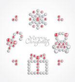 Christmas jewel icon set — Stock Vector