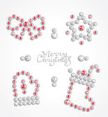Christmas jewel icon set — Stock Vector