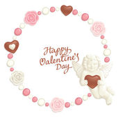 Valentine candy frame — Stock Vector