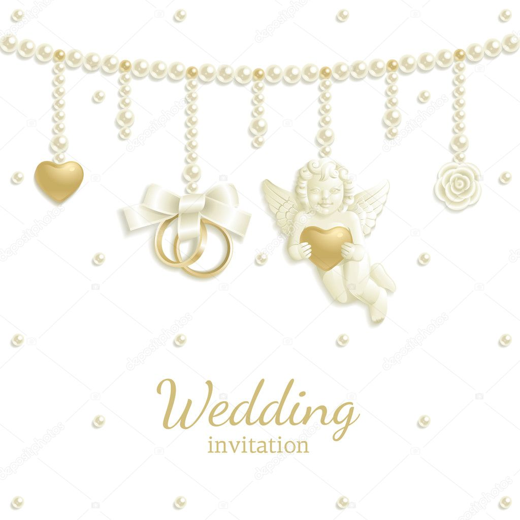 Wedding background with rings, pearls and other jewels — Stock Vector #5000526