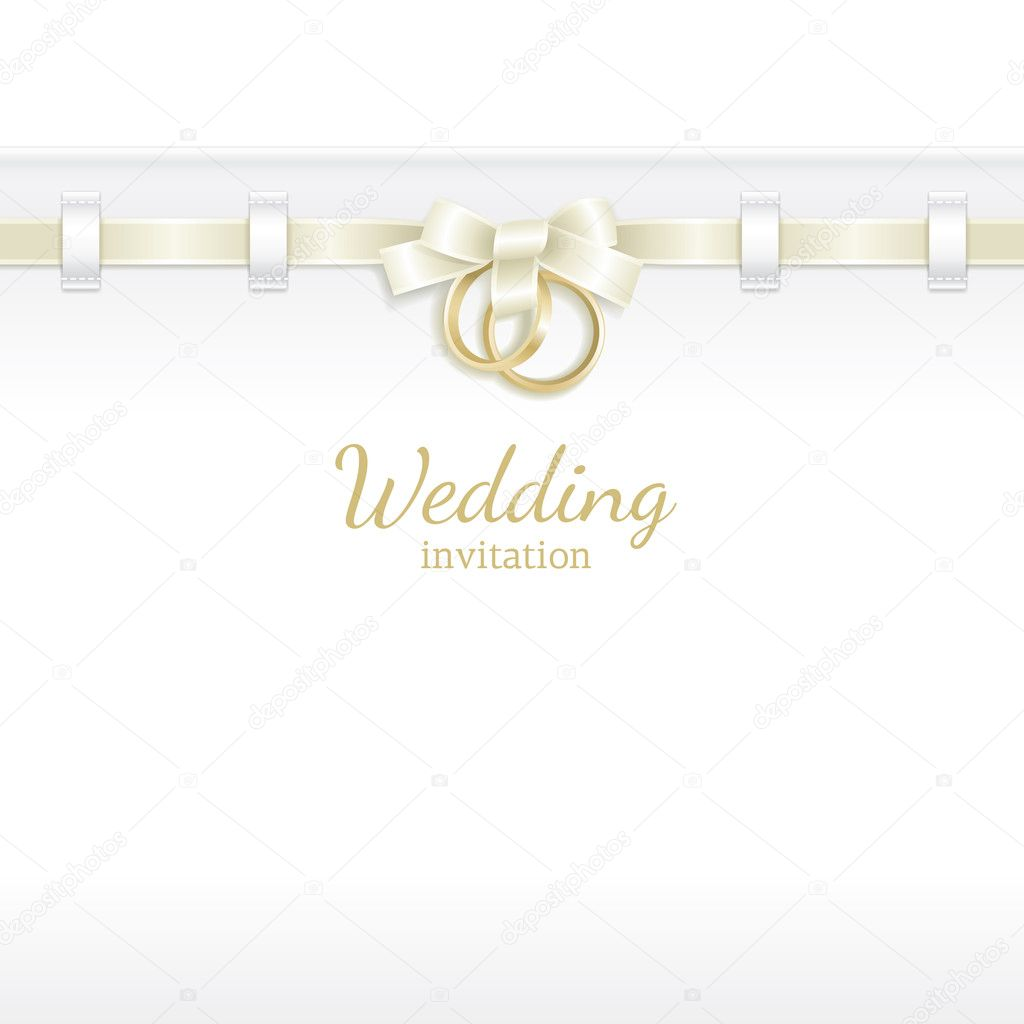 Wedding background decorated with ribbon and rings  Stock Vector #5013502