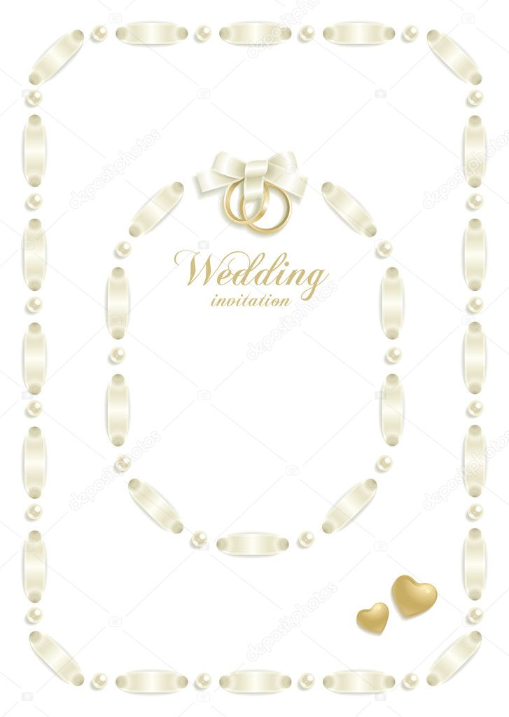 Wedding backgrounds with ribbon making a frame for your text — Image vectorielle #5064922
