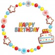 Stock Vector: Birthday candy frame