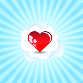 The heart in clouds — Stock Vector