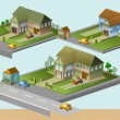 Several house isometric - Stock Vector