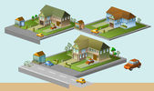 Several house isometric — Stock Vector