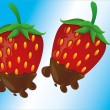 Strawberry in a chocolate — Imagen vectorial