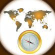 Compass and world map — Imagen vectorial