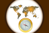 Compass and world map — Stock Vector