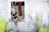 Beautiful Blonde at an Abandoned House (6) — Stock Photo