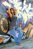 Beautiful Mature Black Woman with Graffiti (3) — Stock Photo