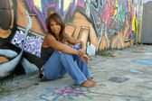 Beautiful Mature Black Woman with Graffiti (7) — Stock Photo