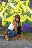 Beautiful Mature Black Woman with Graffiti (12) — Stock Photo