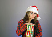 Teen Girl Santa's Helper (2) — Stock Photo