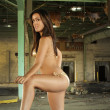 Beautiful Latina in a Bikini at an Abandoned Warehouse (9) — Stock Photo