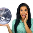 Royalty-Free Stock Photo: Beautiful Excited Teen Latina Holds the Earth