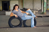 Sexy Brunette with Tattered Jeans (1) — Stock Photo