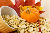 Toasted pumpkin seeds spilling from a yellow bowl — Стоковое фото