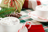 Hot Chocolate Cocoa Drinks with Candy Canes — Stock Photo