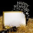 Happy New Year Sign in Black and Gold — Stock Photo