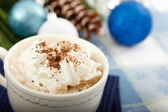 Hot Chocolate Cocoa on Blue Background — Stock Photo