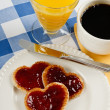 Sweet Valentine Breakfast — Stock Photo