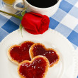 A romantic morning breakfast treat — Stock Photo