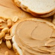 Peanut Butter on Bread with Peanuts — Stock Photo #4964126