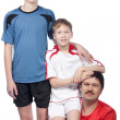 Stock Photo: Father and two sons in top form