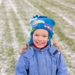 Small boy on football field, winter — Stock Photo #5138125