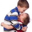 Two happy brothers hugging — Stock Photo