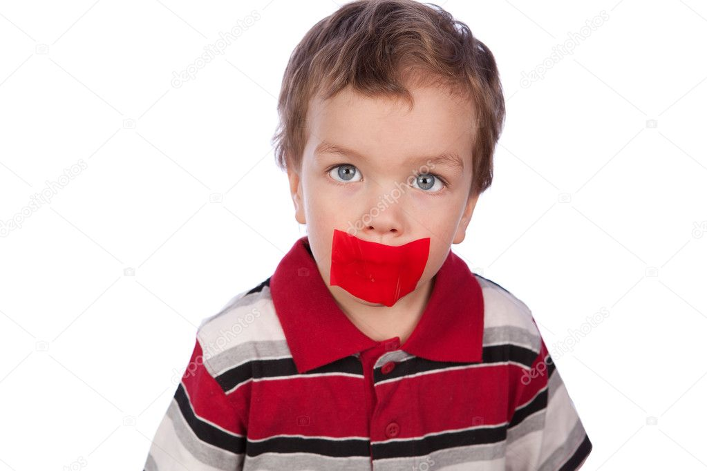The boy's mouth by red tape — Stock Photo #5138137