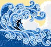 Surfing — Stock Vector