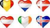 Flags heart — Stock Vector