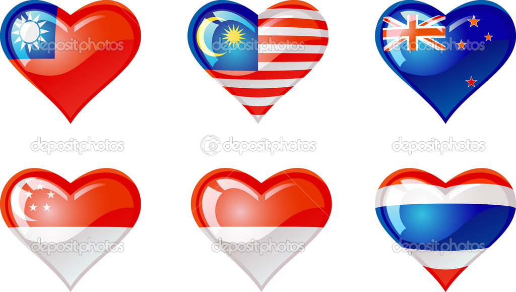 "Extra glossy vector ""Flags heart"", are good for: icon, button, design, decoration, or as a symbol  — Stock Vector #5279987"