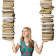 Woman with many books in her hands — Stock Photo #4144863