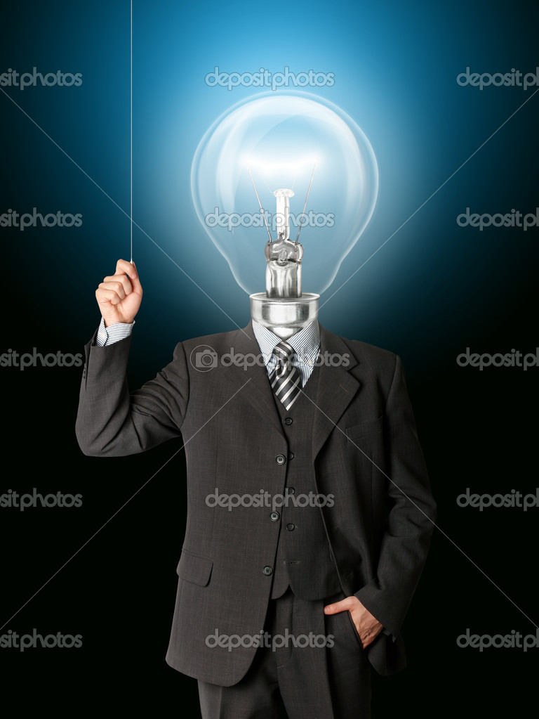 Business man turn on the light and have got an idea — Stock Photo #4144284