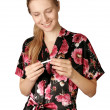 Happy woman with pregnancy test — Stock Photo #4198924
