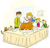 Den díkůvzdání rodinný obrázek — Stock vektor