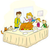 Thanksgiving day family picture — Vector de stock