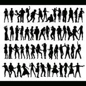 Bailando y cantando el nuevo conjunto — Vector de stock