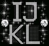 Digital diamond alphabet new — Stock Vector