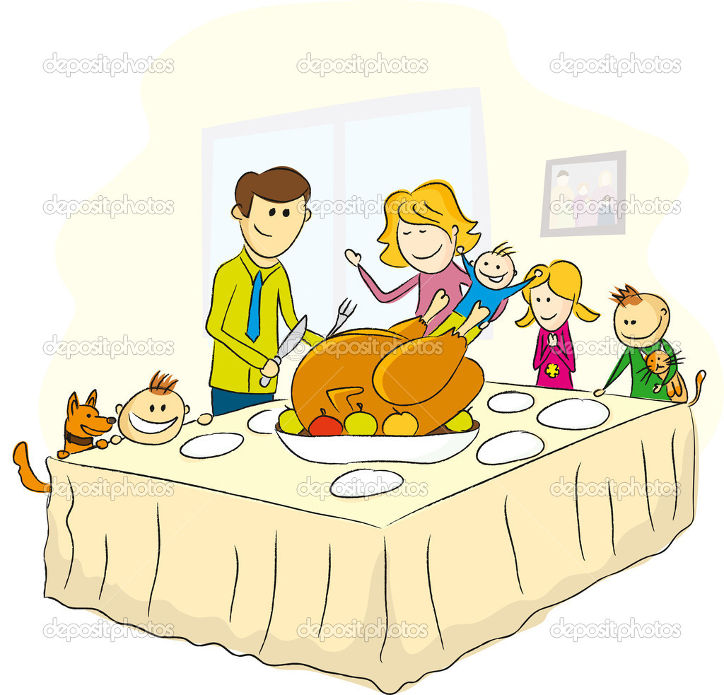 Vector thanksgiving day picture, family near the table and turkey  Stock Vector #4192323
